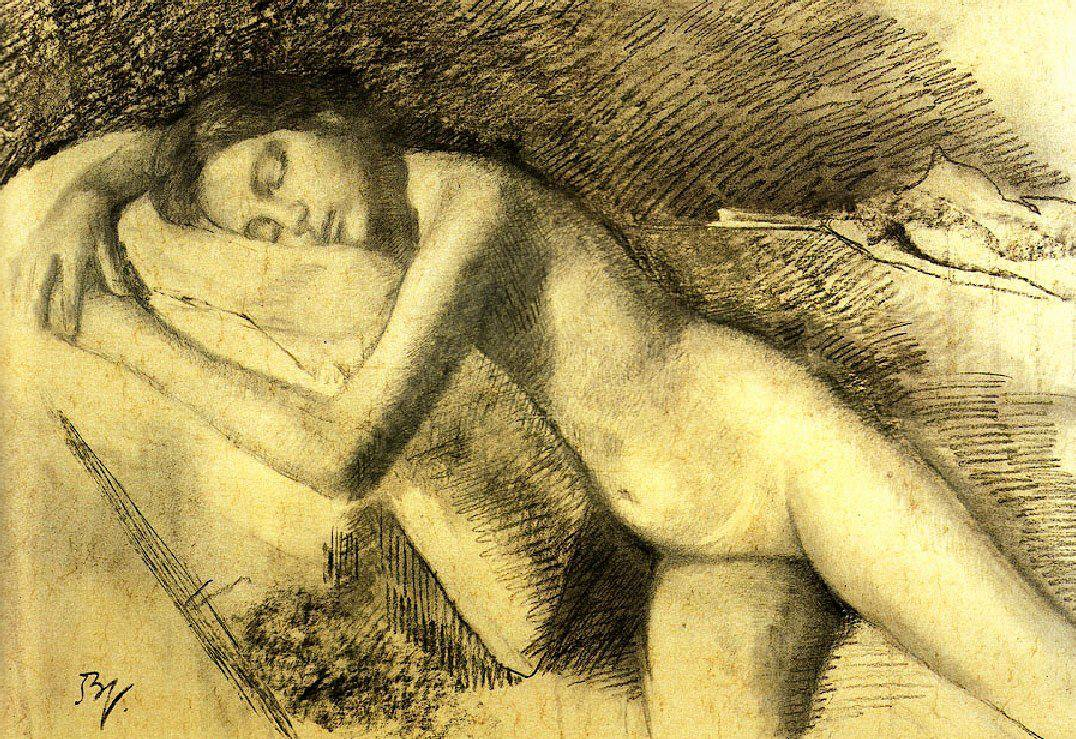 Balthus (1908-2001) Study for a Reclining Nude (1977).