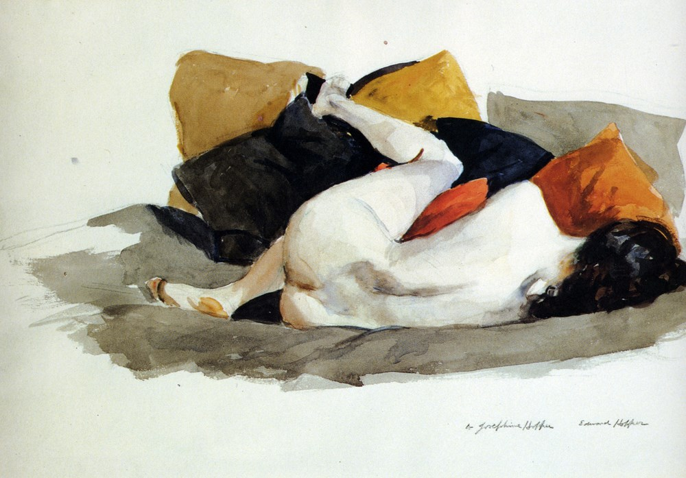 Edward Hopper (1882-1967). Reclining Nude (vers 1924).