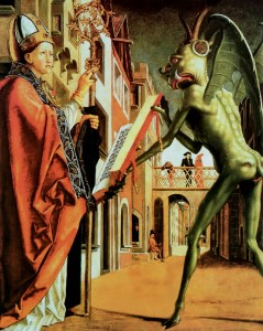 Saint Augustin et le diable, Michael Pacher (env. 1471).