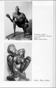 Haut : Germain Richier : La sauterelle, bronze 1946-57. Photo Hervochon. Bas : Rodin : Photo Adelys.
