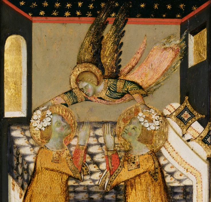 he Stigmatization of St. Francis, and Angel Crowning Saints Cecilia and Valerian, Italian, 1330.