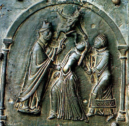 Scene in bronze of the eleventh century (Church of San Zeno, Verona).