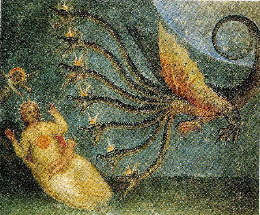 The Beast rises from the Sea of the Apocalypse by Giovanni Menaboui {ca.1375}.