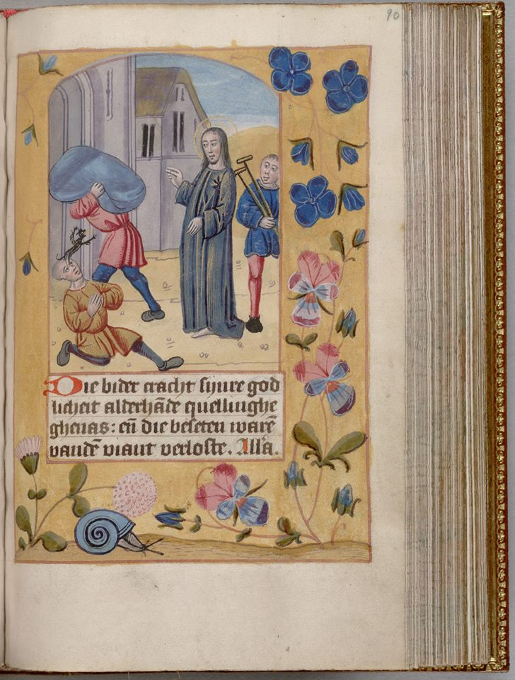 Jesus liberating a man from a demon and making a cripple walk (right). Devotions, c. XV century, HM 1140, f. 90r, Henry E. Huntington Library and Art Gallery, San Marino, California.