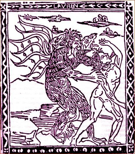 Devil (XV century)  The devil takes possession of a living being. Woodcut of the fifteenth century.