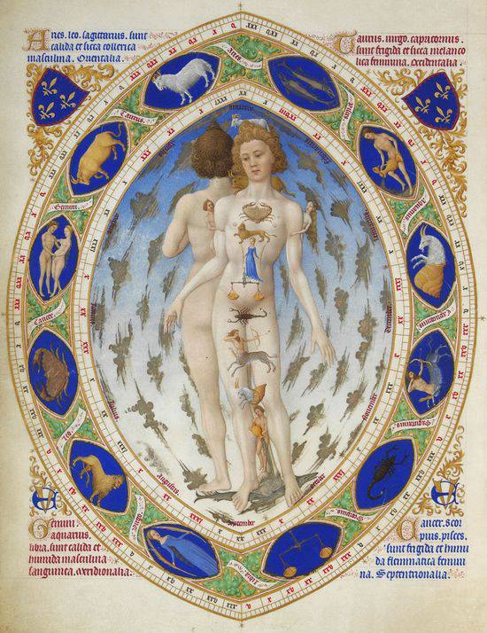The Limbourg brothers - The Anatomical Zodiac Man, 1412-1416.
