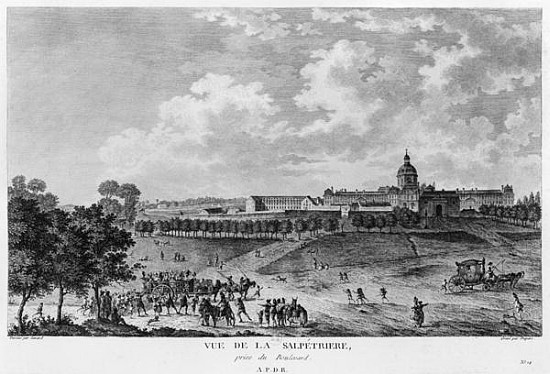 XIR287091 View of Hopital La Salpetriere, transport of prostitutes, Paris, engraved by Duparc, after a drawing by Savard, c.1790 (engraving) (b/w photo) by French School, (18th century); Bibliotheque Nationale, Paris, France; (add. info.: originally a gunpowder factory; prison for prostitutes; place for the poor, the insane and epileptics; psychiatric center; designed by architect Liberal Bruant (c.1635-97); porte Saint Bernard); Giraudon; French, out of copyright