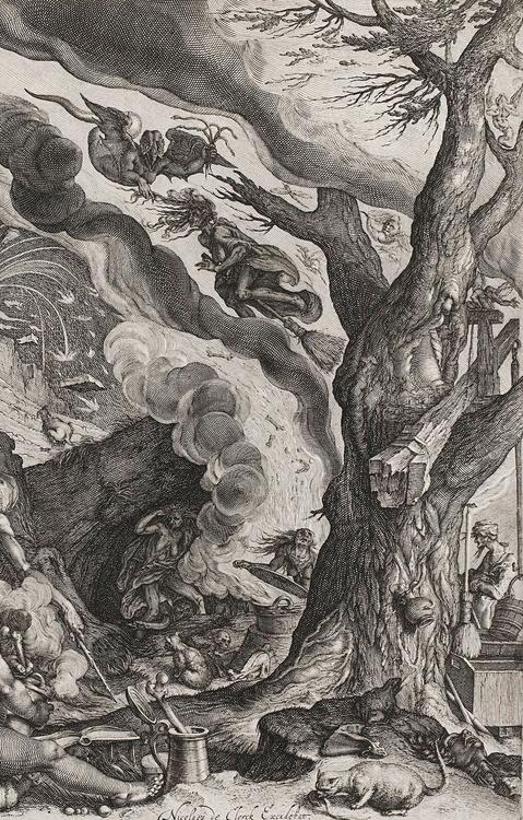 A witch opens a cauldron as another flies on her broom with a winged devil, and below cupid rides a winged dragon next to a lizard as various devils ride flying beasts and goats in the clouds. -