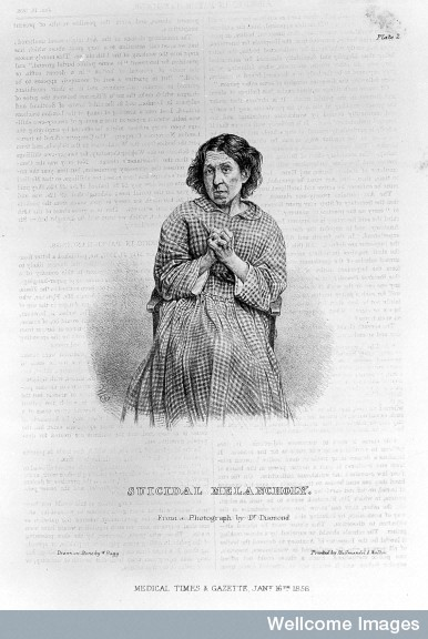 L0022593 'Suicidal melancholy' Credit: Wellcome Library, London. Wellcome Images images@wellcome.ac.uk http://wellcomeimages.org 'Suicidal melancholy' after a photograph by H. W. Diamond Lithograph By: W. Baggafter: Hugh Welch DiamondThe Medical Times and Gazette Published: Jan 2 to June 26 1858 Copyrighted work available under Creative Commons by-nc 2.0 UK, see http://wellcomeimages.org/indexplus/page/Prices.html
